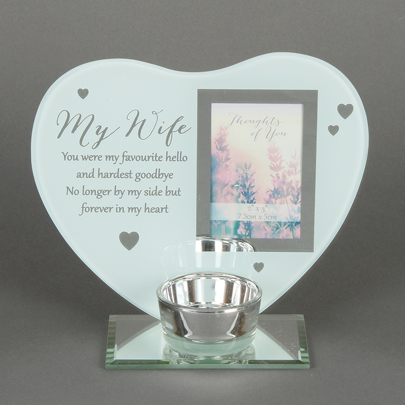 'My Wife' Memorial Tealight holder and photo frame