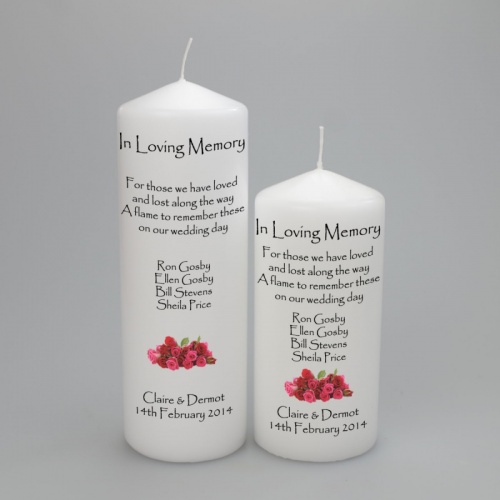 A personalised Wedding Absence Memorial candle with Names and flowers