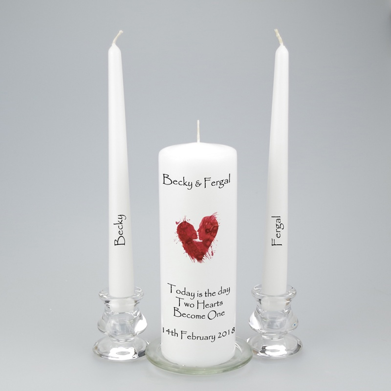 Personalised Unity Candle with a beautiful abstract heart