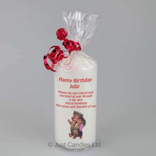 Happy Birthday candle with Hedgehogs and Verse