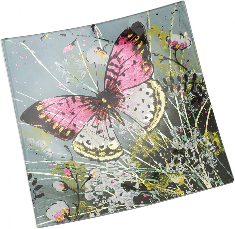 Square Glass Plate curved  - Butterfly