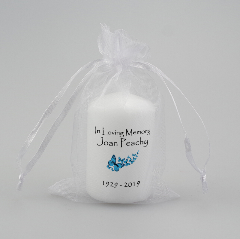 Small Memorial Candle with butterflies