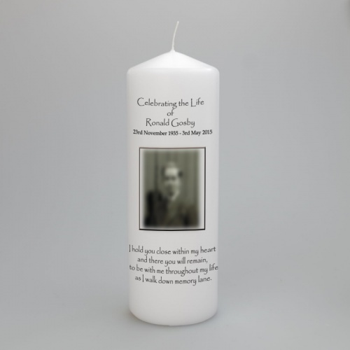 Personalised Celebration of life photo candle, in two sizes