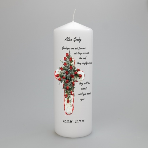 A beautiful  personalised memorial candle featuring a cross - two sizes available