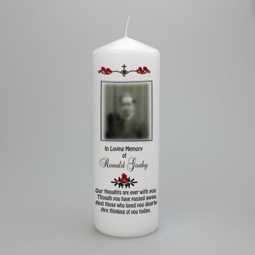 Personalised remembrance photo Candle available in two sizes
