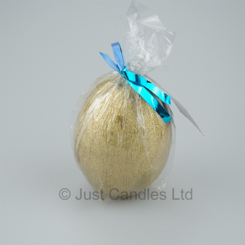 Egg shaped glittery Gold candle