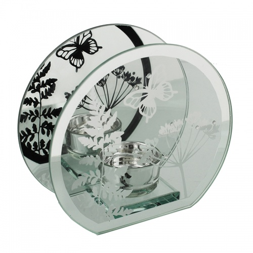 Glass Round Single Tealight  holder With Butterfly Design