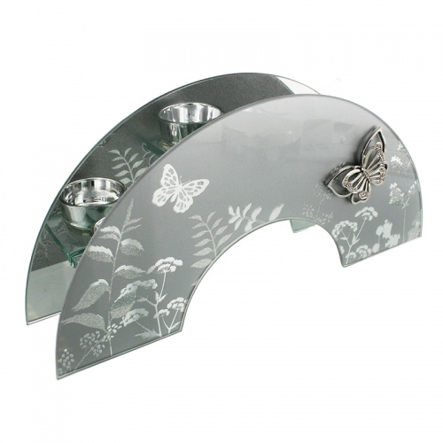 Frosted Glass & Mirror Tealight holder Arched with butterflies