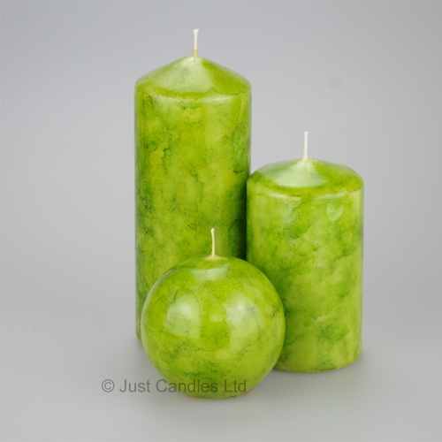 Lime Green  coloured Pillar candle set of 3