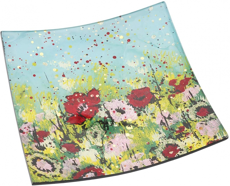 Square Glass Plate curved  - Wild Meadow