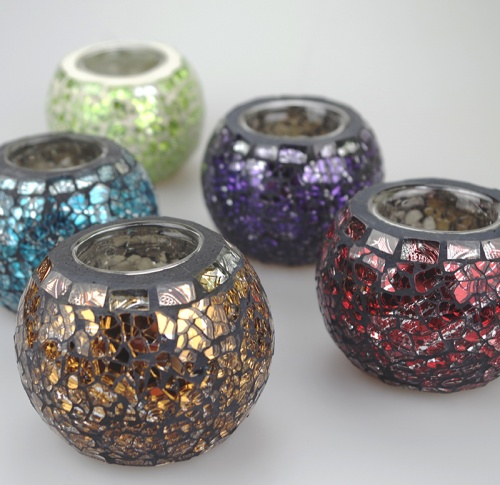 Mosaic Glass Ball shaped Tea Light Candle holder