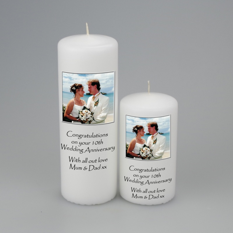 Picture Candle with writing below the picture