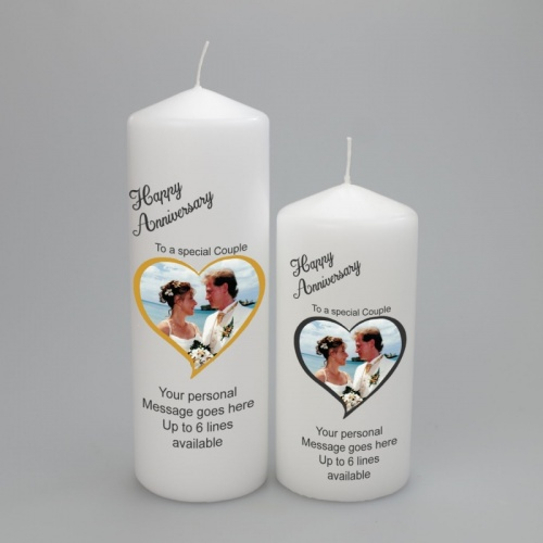Anniversary Picture candle in a Heart Frame