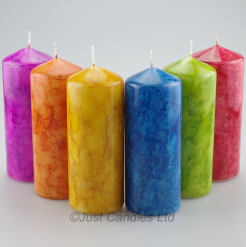A stunning set of 2 marble effect pillar candles