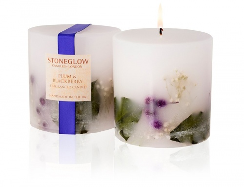Stoneglow Plum & blackberry solid Fat Scented Pillar Candle