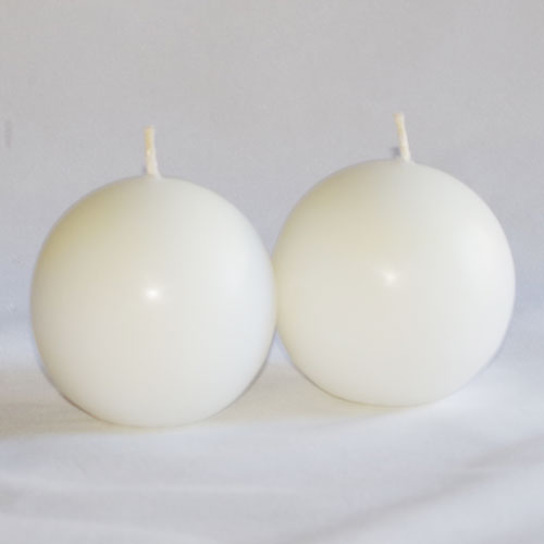 A pair of 70mm Ball Candles White