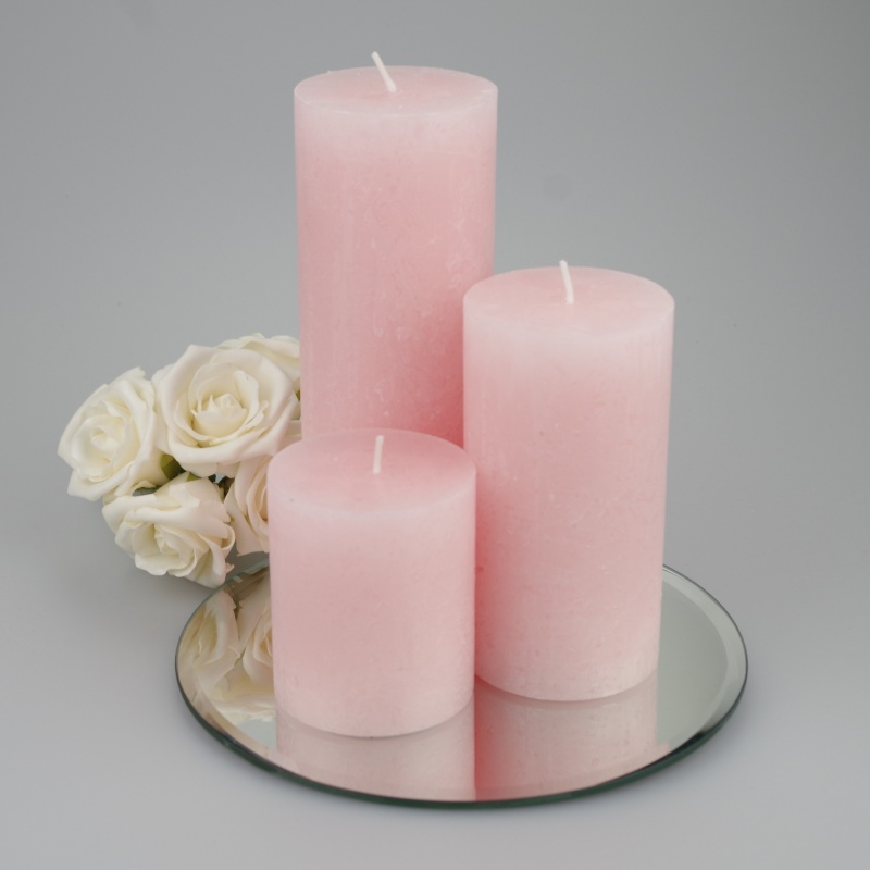 Rustic Pillar set of 3 Soft Pink