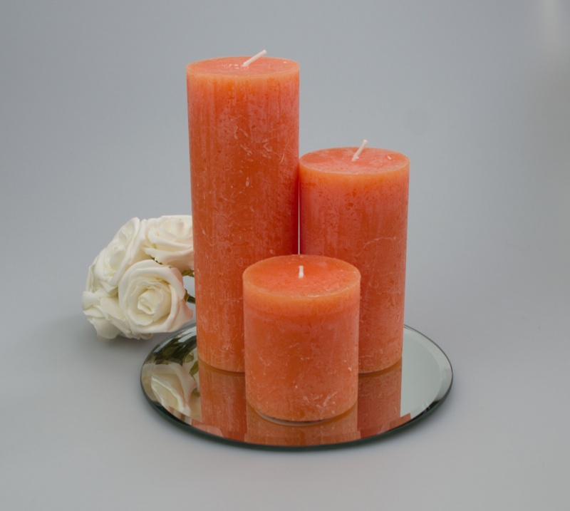 Rustic Pillar set of 3 Orange