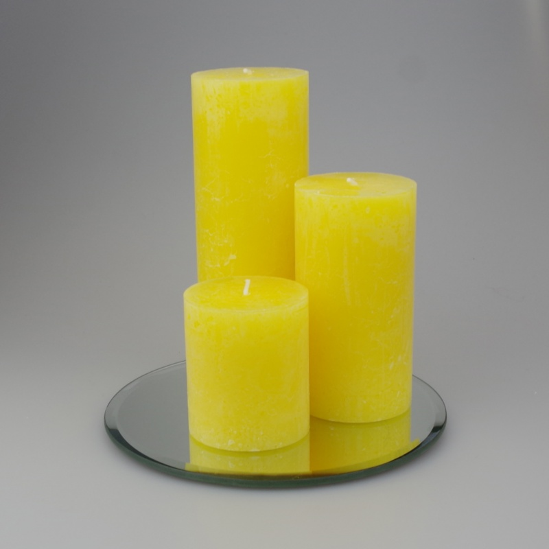 Rustic Pillar set of 3 Yellow