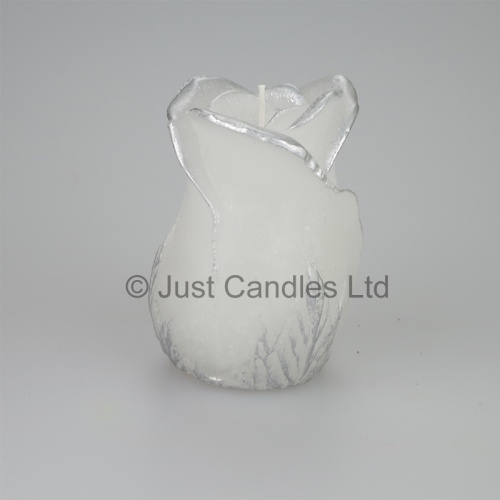 Real flame, coloured LED Candle, Silver tipped