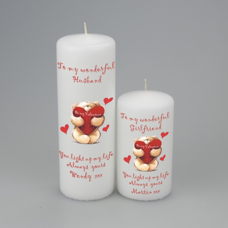 Personalised Valentines Teddy pillar Candle