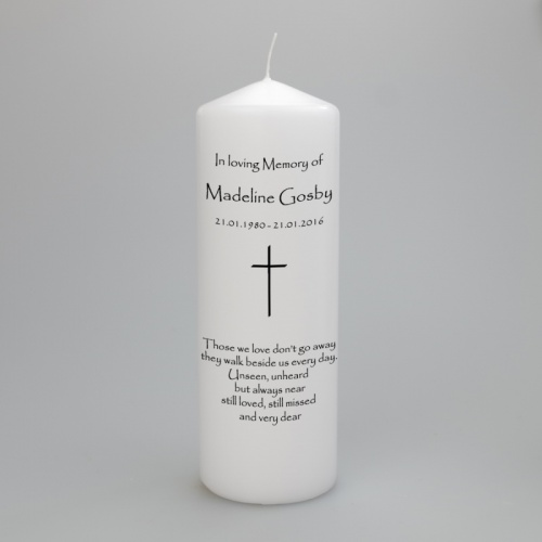 A personalised memorial candle fearturing a Simple Cross - two sizes available