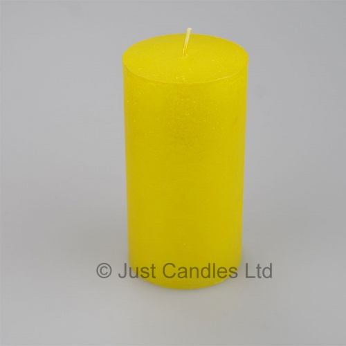 Metallic rustic yellow pillar candle