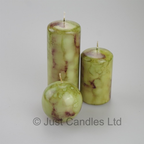 Jade coloured marble effect Pillar candle set of 3