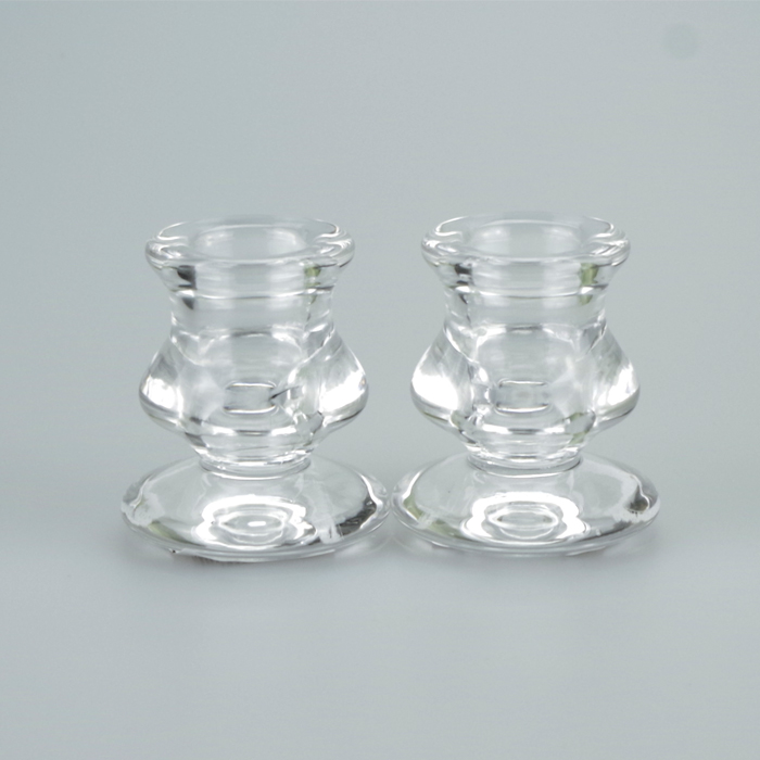 A Pair Of Stylish Glass Taper Candle Holders Justcandles