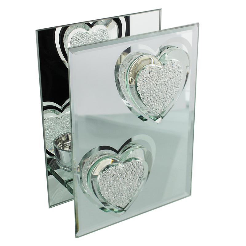 Glass mirror double tealight holder crystal heart for Mirror holders
