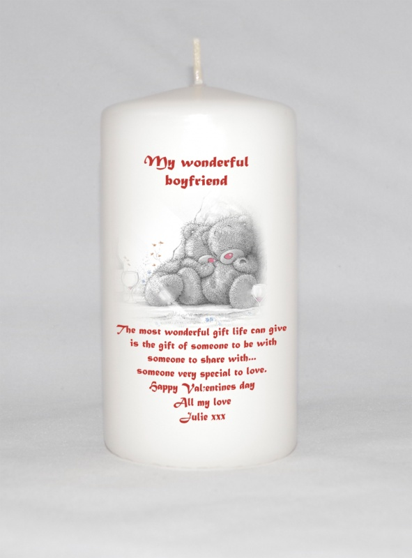 valentines cuddling teddy s personalised pillar candle justcandles