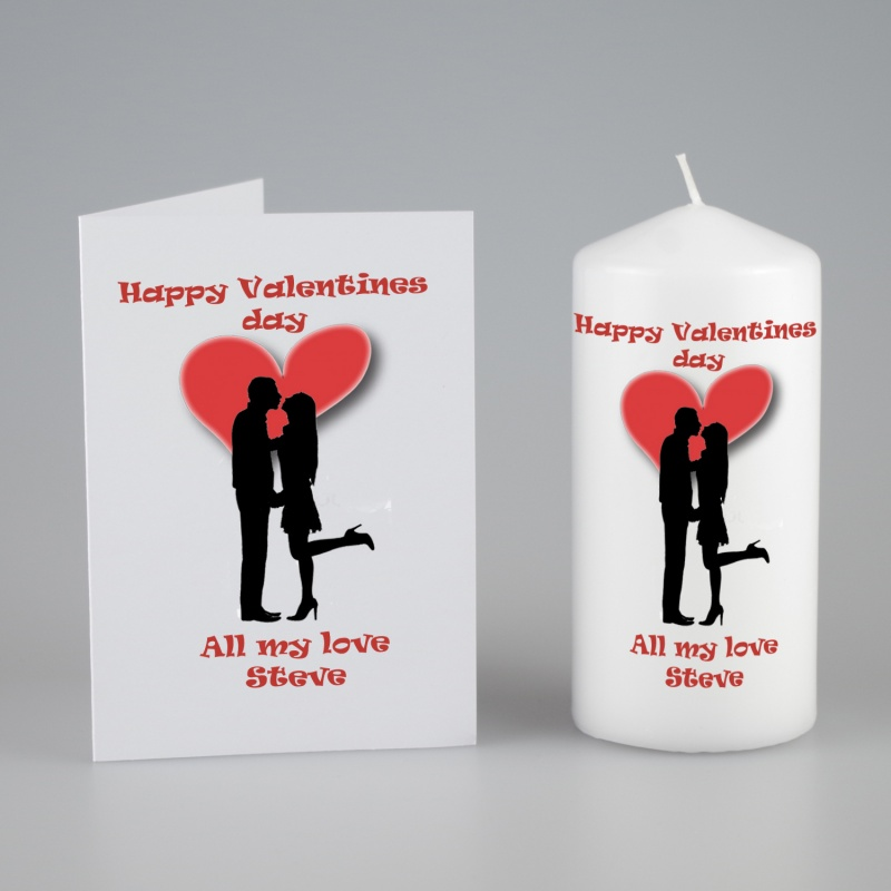 Personalised card and candle gift set Valentines silhouette couple – Personalised Valentines Cards