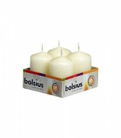 Pack of 4 small pillar candles 40mm dia x 60mm