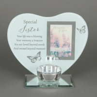 'Special Sister' Memorial Tealight holder and photo frame