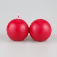 Pair of 70mm Red ball candles