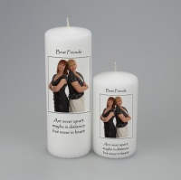 Picture Candle with writing above and below picture