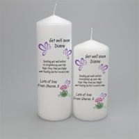 Personalised gift candle, get well soon with butterflies