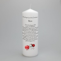 A personalised Christmas Memorial candle with Baubles