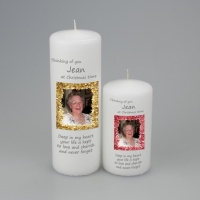 A personalised Christmas Picture candle with a tinsel border