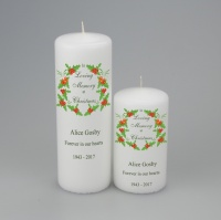 A personalised Christmas Memorial 'In loving Memory' Candle with wreath