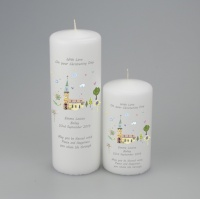 Personalised Christening or Baptism candle featuring Village church