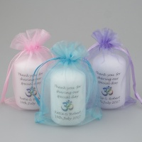 Personalised mini Favour candle with a coloured Om symbol