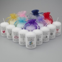 Personalised mini Favour candle with a selection of symbols to choose from or create your own