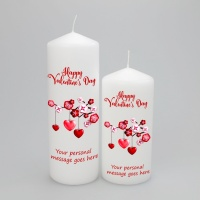 Personalised Valentines candle with dangling hearts