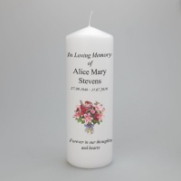A beautiful  personalised memorial candle - two sizes available