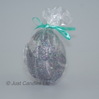 Egg shaped glittery graphite ball candle