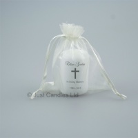 Small memorial candle with message and chunky cross