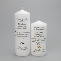 Wedding Absence candle '' In Loving memory with names'' choice of rings or entwined hearts