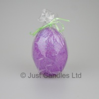 Egg shaped glittery Lilac candle