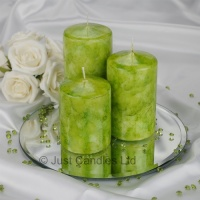 A Lime Green coloured marble effect wedding centrepiece pillar candle set with optional glass mirror plate